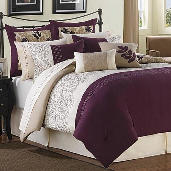 Ridgewood Plum Ivory And Taupe 6 Piece Comforter Set