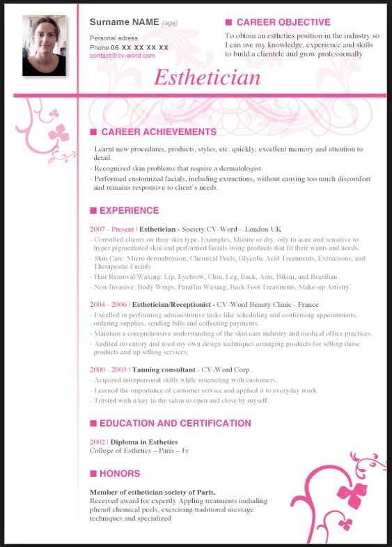 Esthetician Resume With No Experience  resume template  Pinterest  Resume and Estheticians
