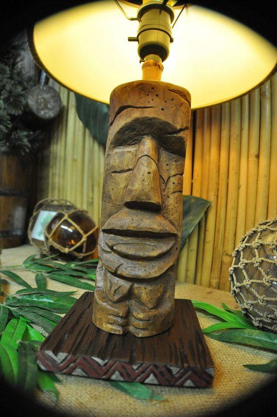 Tiki Lamp Desk Top Light Moai Tonga Hut Inspired Light