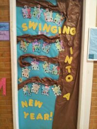 New Year door decoration. Each child watercolored a monkey