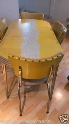 formica table and chairs swing chair used vintage retro kitchen master yellow cracked ice 1950's   i love ...