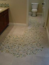 Sliced Sea Green and White Pebble Tile | Mosaic floors ...