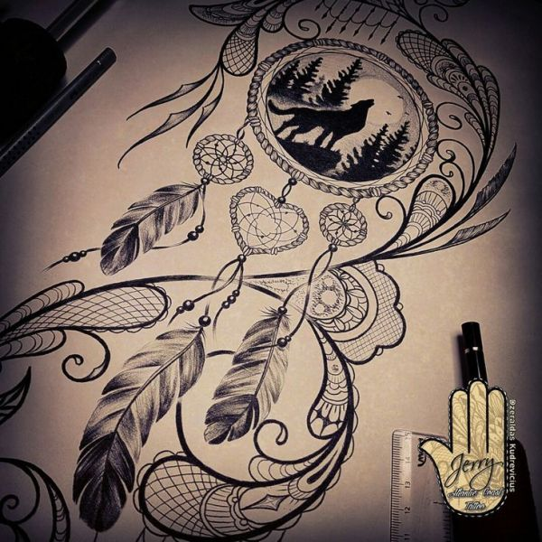 500926adc4329 20 Mandela Wolf Dream Catcher Tattoos Ideas And Designs
