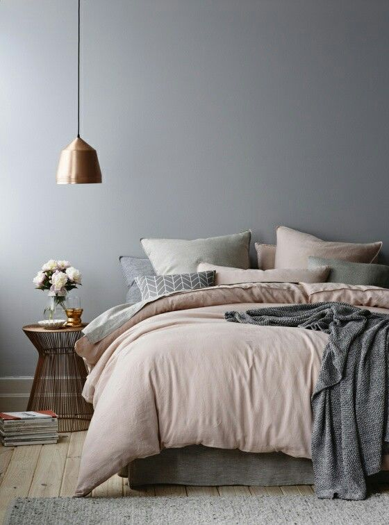 A gorgeous variation on neutrals - dusty shades of grey and blush. Try www.naturalbedcompany.co.uk for linen and cotton bedding...: