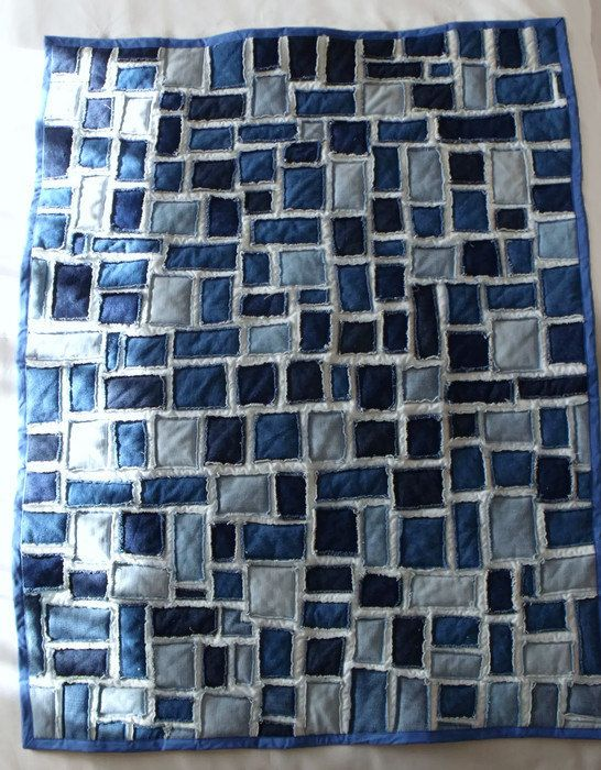blue denim sofa bed reupholster cushions cost patchwork quilt, quilt as you go, scrap fabric ...