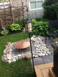 Fire pit, lee valley Turkish copper grill & river rock ...
