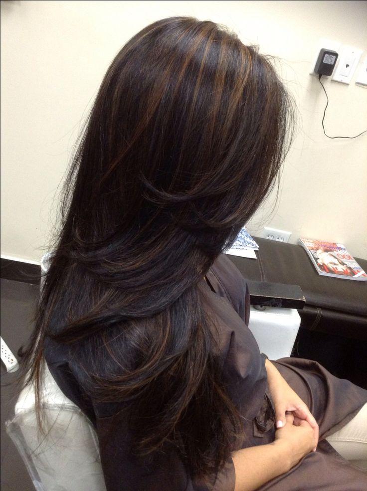 17 Best ideas about Dark Hair Highlights on Pinterest