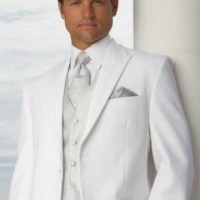 White groom but with a soft gold vest/tie instead of ...