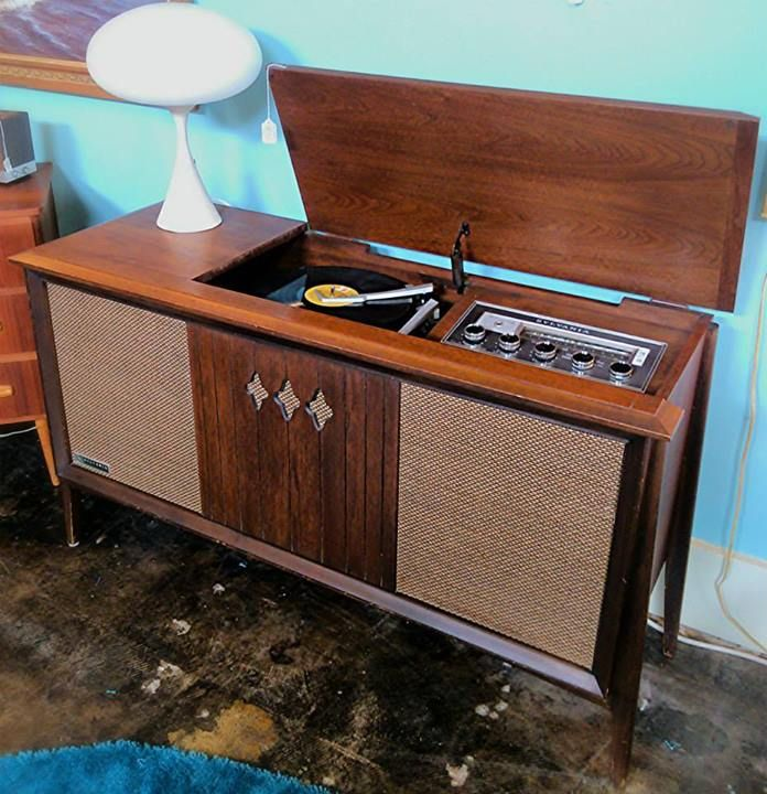 1960's Sylvania walnut AM/FM stereo record player cabinet
