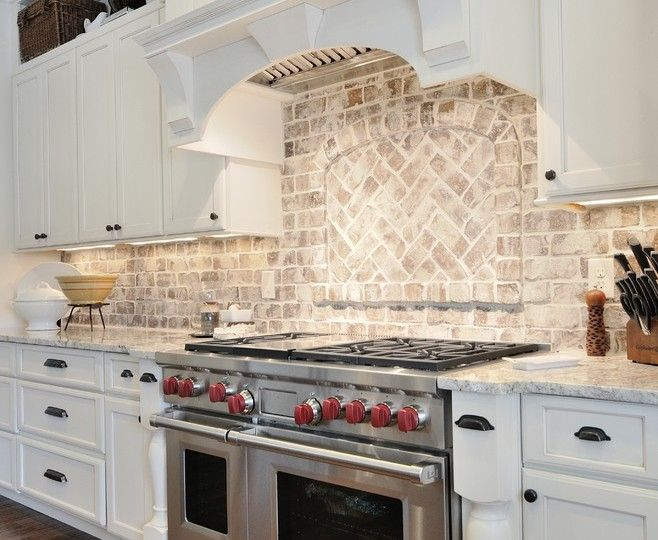 Marvelous Brick Backsplash Traditional Kitchen Kitchen