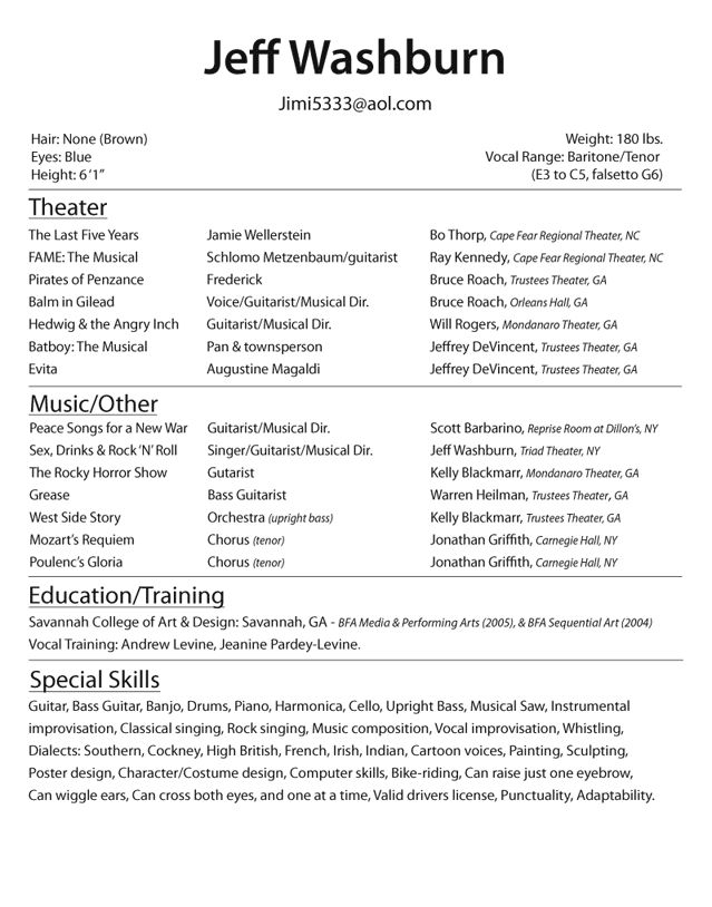 professional acting resume examples