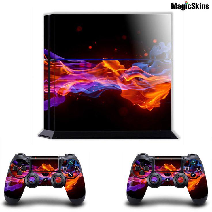 BLUE ORANGE FIRE Playstation PS4 ConsoleController Skins
