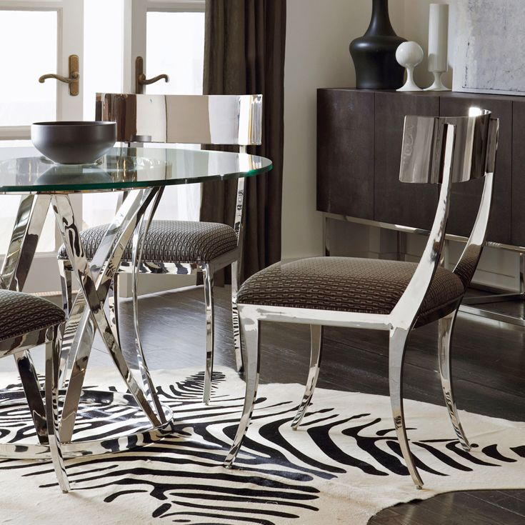 Bernhardt Interiors Gustav Metal Side Chair Argent Round