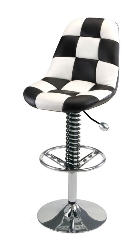 A checkered shop stool with a steering wheel foot rest