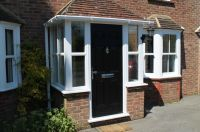 porch uk, black door, white windows | patio furniture ...