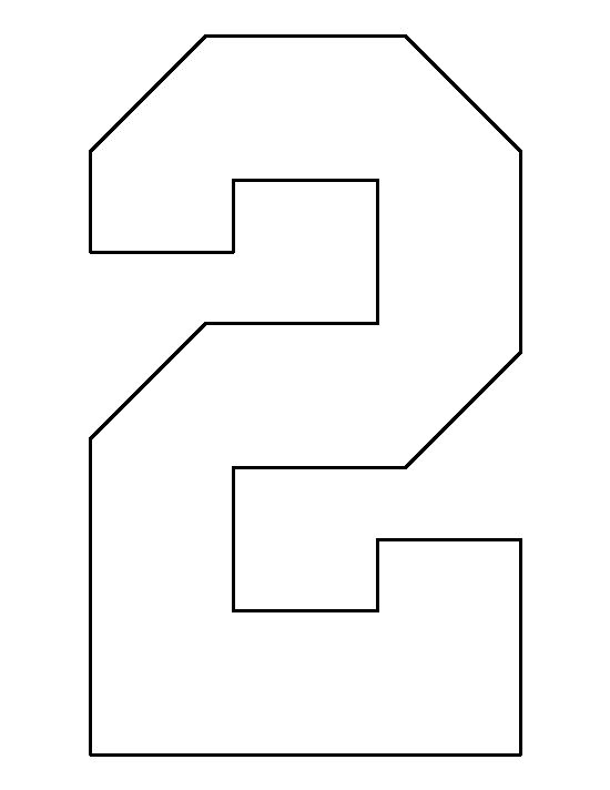 Number 2 pattern. Use the printable outline for crafts