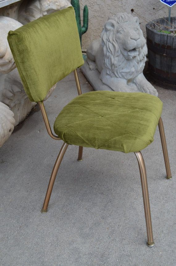 occasional chairs cheap chair covers for wedding decoration 1960s gold metal & green velvet vintage kitchen chair, funky mid-century modern, comfy kitschy ...