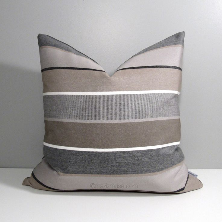 Brown  Grey Outdoor Pillow Cover Decorative Striped
