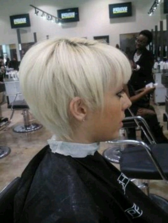 platinum pixie with bangs  Short Hairstylecuts