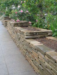 Great stacked rock garden wall/raised garden beds ...