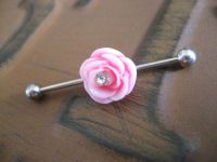 Industrial Barbell Piercing Bar Earring Jewelry Pink Rose ...