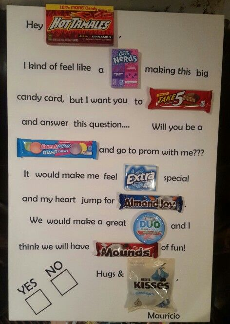 Ask Someone To Prom With A CANDY CARD So Craf T