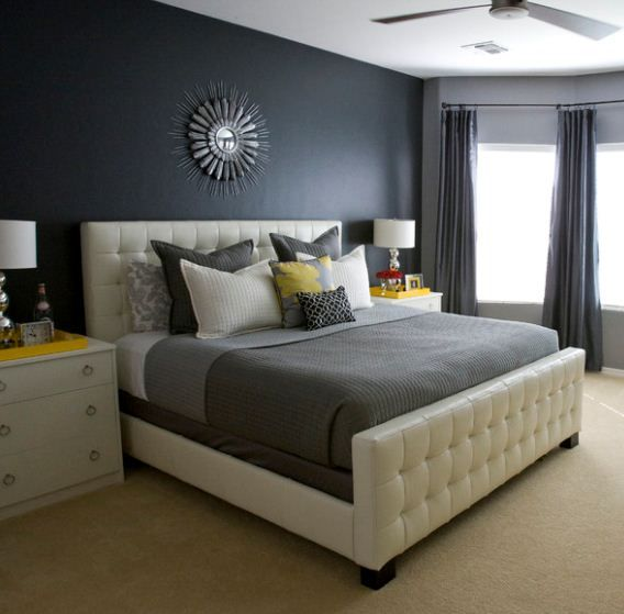 yellow and gray accent bedroom Shades of charcoal gray look stunning with accents of mustard yellow. Read more on Dura's Blog
