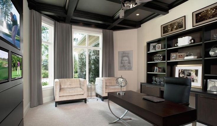 Modern Home Office Home Study Grey Accents Dark Wood