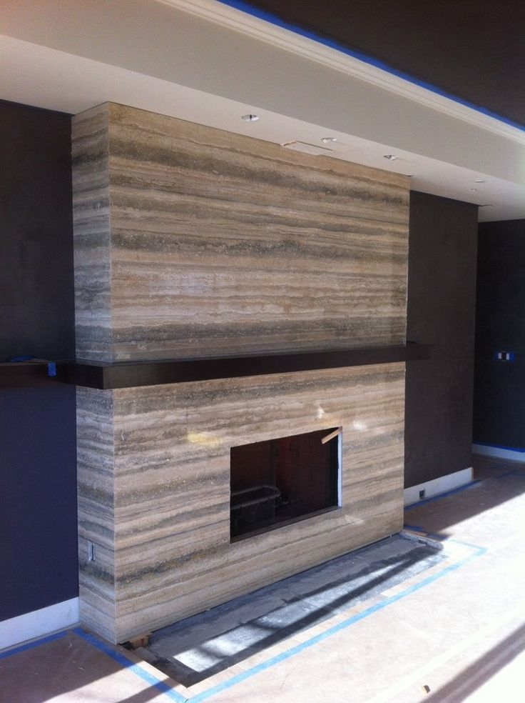 Modern Travertine Fireplace silver travertine  Home  Pinterest  Ceiling beams Mantles and