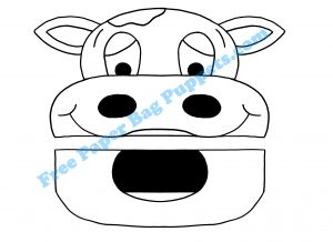 Cow Free paper bag puppet printable (no watermark when you