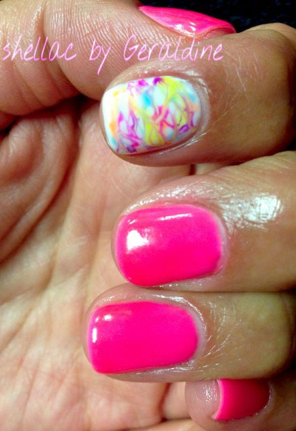 Marbled nail art shellac Neon pink neon nails gelish orly