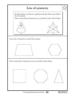3rd grade, 4th grade Math Worksheets: Lines of symmetry