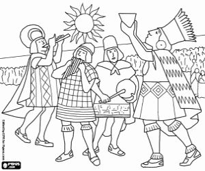 Inca ritual of worship to the Sun God coloring page