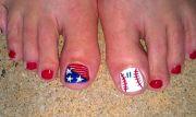baseball mom toes toe nail design