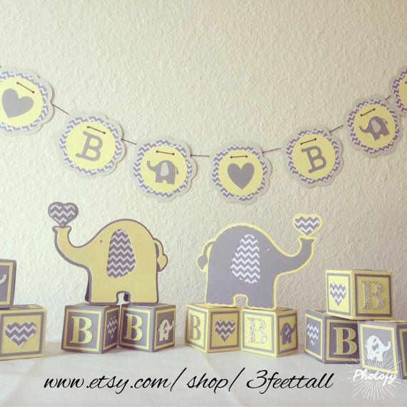 Elephant And Yellow Grey Decorations Baby Shower