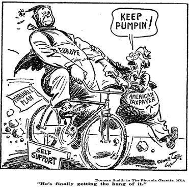 political cartoon marshall aid and truman doctrine