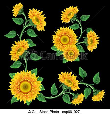 clipart sunflowers