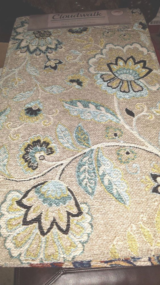 CLOUDWALK ORTHOPEDIC FOAM RUG TAN BLUE FLOWER 24 x 43