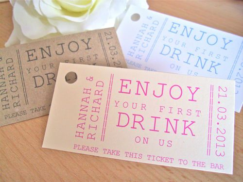 Personalised Drink Ticket Token Wedding Favour Tag