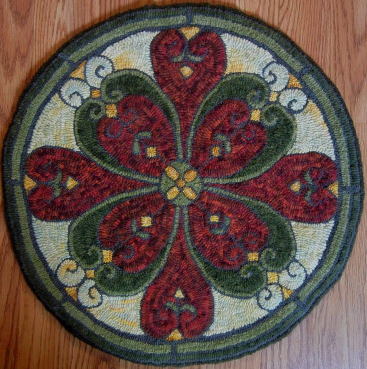 168 best images about Rug Hooked Chair Pad on Pinterest