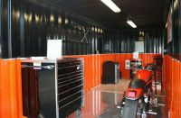 Single shipping container motorcycle garage. | Container ...