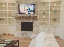 Fire place brick color, ledge on fireplace, mantel color ...