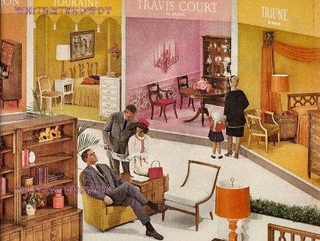 1964 DREXEL MERIDIAN LivingDining Room FURNITURE AD Triune and Touraine  1964 our house was