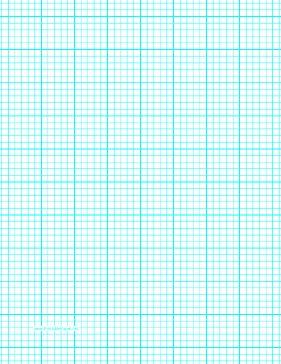 This Letter Sized Graph Paper Has Five Aqua Blue Lines