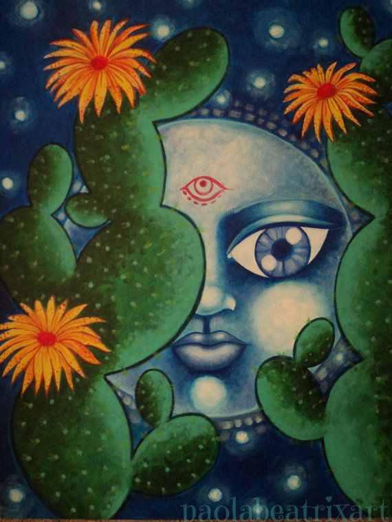 Original Painting Acrylic Painting Home Decor Gift Idea Moon Cactus Cactus Painting Cactus Decor
