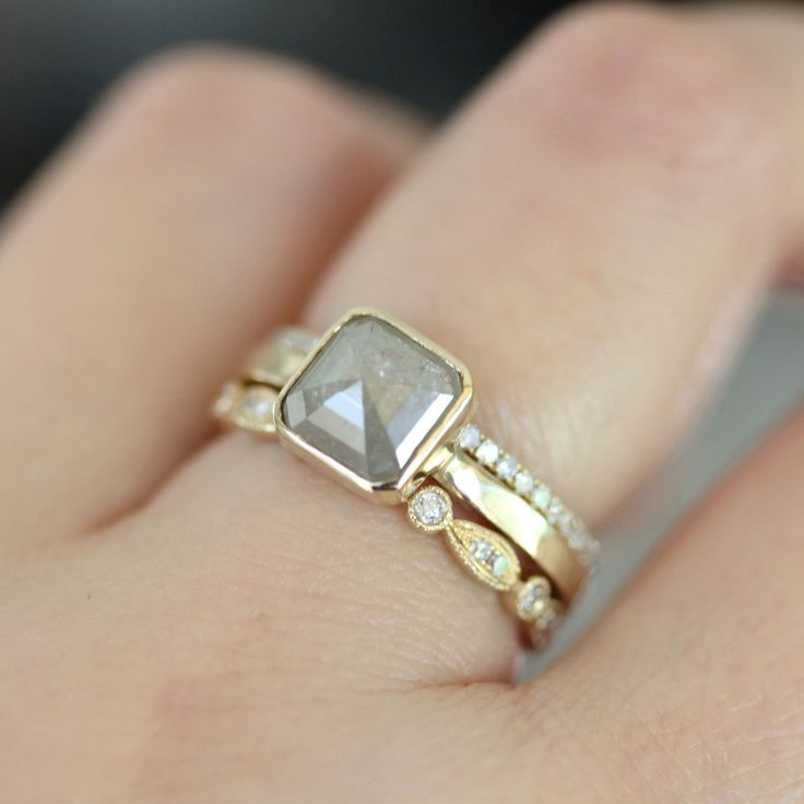 Gorgeous!! Rose Cut White Gray Asscher Cut Diamond In 14K Yellow Gold Engagement Ring + Micro Pave White Diamond Band in 14K
