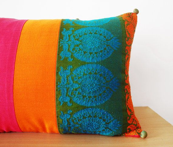 Bright Patchwork Lumbar Pillow Decorative Pillow by