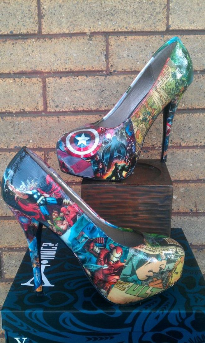 @Katie Hrubec Wennell -- hum maybe these instead of blue for the wedding?     Avengers Comic book Big Heels by FaithisFabulous on Etsy, $85.00: