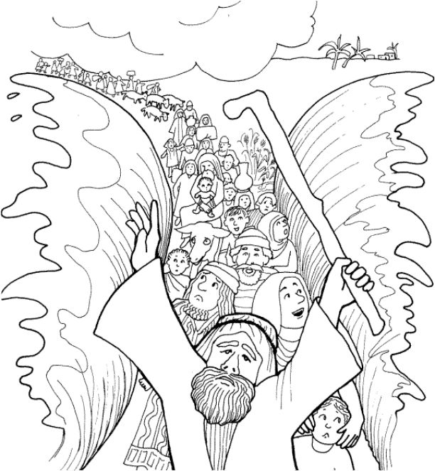 Moses Parting the Red Sea Coloring Page [