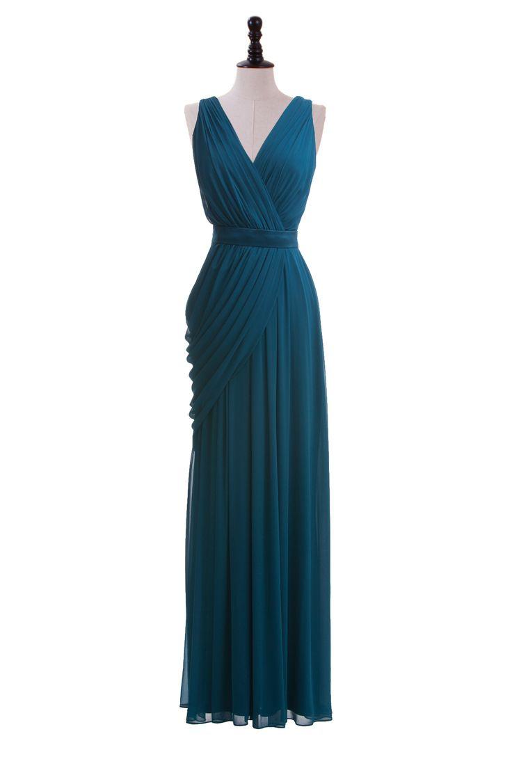 Draped V-Neck Chiffon Gown